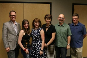 Our first event with the St. Charles County Library District. From left to right: Authors Garth Nix and Maggie Stiefvater, Emily and Ellen Hall, Author Sean Williams, and Andy Hall