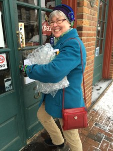 Vicki locking the door to the bookstore one last time as owner.
